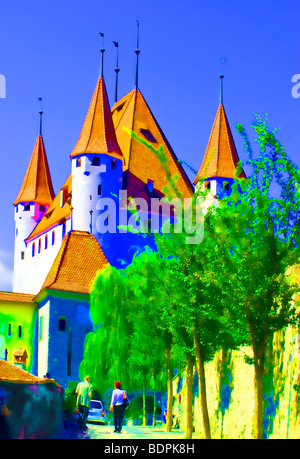 Picture, cartoon-like city of Thun - Switzerland. The towers of the ancient castle of Thun. - Stock Photo