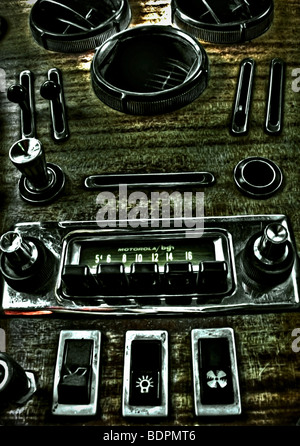 Dashboard from a vintage car - Stock Photo
