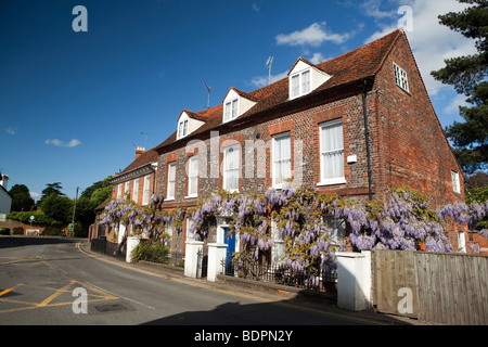 England, Berkshire, Cookham, Sutton Road, Wistaria Cottage, Wisteria hung front of John Lewis Partnership building - Stock Photo