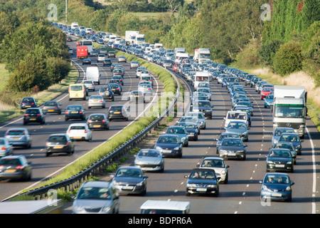 Traffic jam on dual carriageway. A3, Surrey, UK - Stock Photo