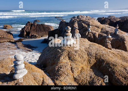 Rock markers and ocean on 17 Mile Drive. Pebble Beach, California - Stock Photo