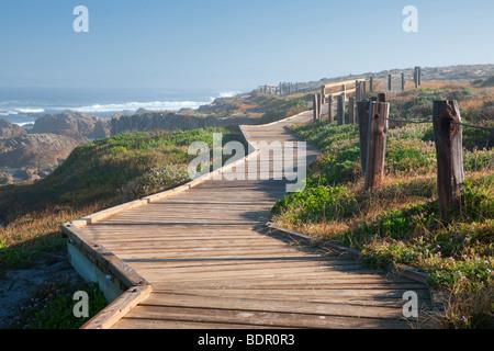 Wooden boardwalk and ocean on 17 Mile Drive. Pebble Beach, California - Stock Photo