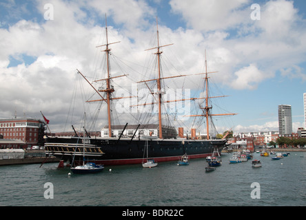 View from the harbour tour of the HMS Warrior, Portsmouth Historic Dockyard, Hampshire, UK. - Stock Photo