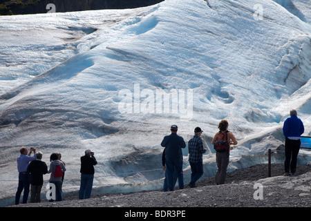 Seward, Alaska - Visitors get a close view of Exit Glacier in Kenai Fjords National Park. - Stock Photo