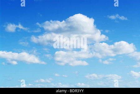 great image of a perfect fluffy cloudy blue sky - Stock Photo