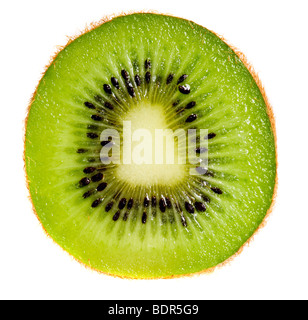 Close up of kiwi slice isolated over white background - Stock Photo