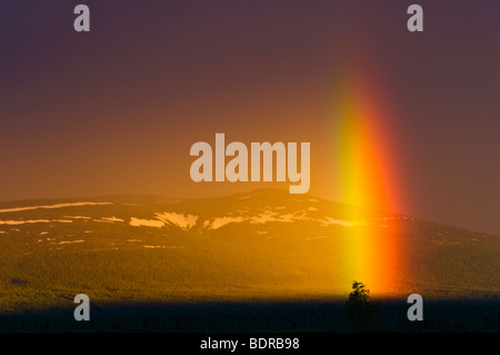 regenbogen ueber landschaft in gaellivare, lappland, schweden, rainbow at landscape in lapland, sweden - Stock Photo