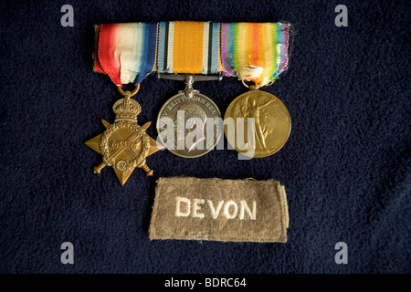 World War One 1 Medals 1914-1915 Star, British War Medal, Victory Medal - Stock Photo