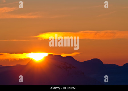 sonnenuntergang ueber padjelanta national park, welterbe laponia, lappland, norrbotten, schweden, sunset, lapland - Stock Photo