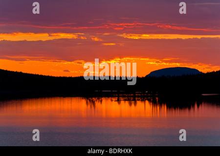 abendstimmung an einem see bei arjeplog, lappland, schweden, evening mood at lake near arjeplog, lapland, sweden - Stock Photo