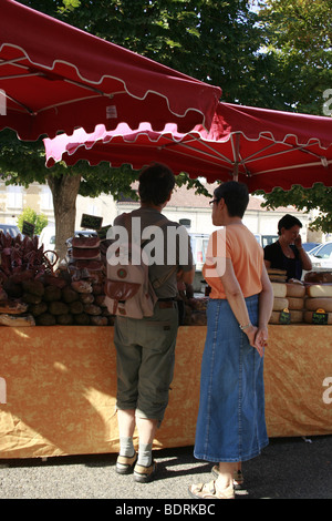 Friday, the weekly market day in Lectoure, France - Stock Photo