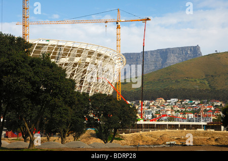 Soccer World Championship 2010, Greenpoint Soccer Stadium under construction, Table Mountain behind, Cape Town, - Stock Photo