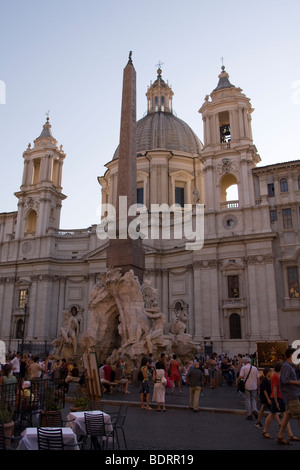 Piazza Navonna in Rome Italy - Stock Photo