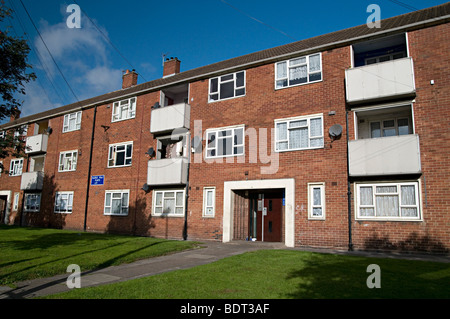 council tenement flats in dudley on a sunny day - Stock Photo