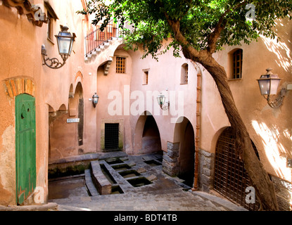 1655 Medieval Public Laundry in the town of Cefalu, Sicily, Italy - Stock Photo