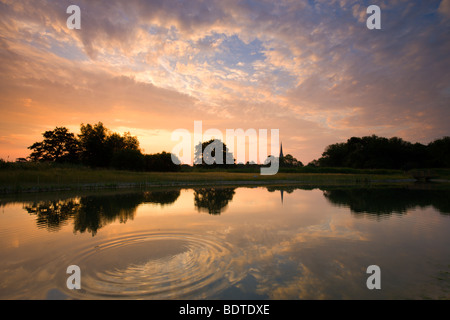 Salisbury Cathedral reflected in a pond at dawn, Salisbury, Wiltshire, England. Summer (June) 2009 - Stock Photo