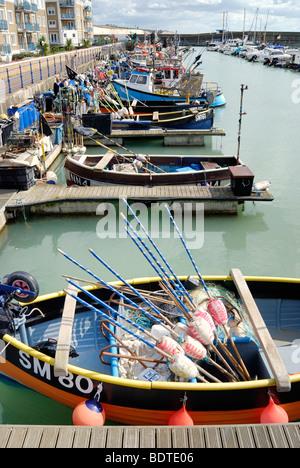 Fishing boats in Brighton Marina - Stock Photo