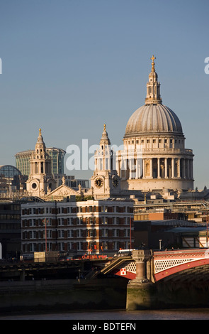 St Paul's Cathedral, Blackfriars Bridge and River Thames, London, England, UK - Stock Photo