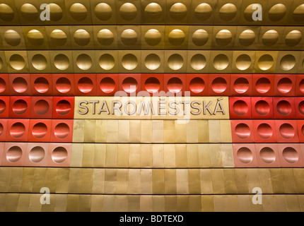 Staromestska metro station in Prague, Czech Republic. - Stock Photo