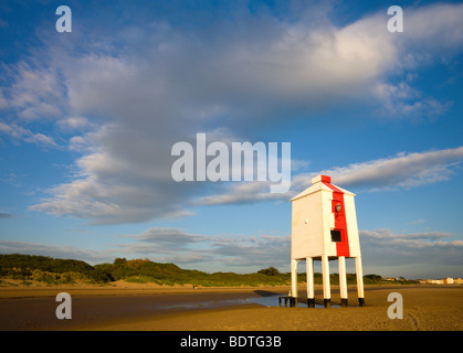 Wooden lighthouse on the sandy beach at Burnham-on-Sea, Somerset, England. Spring (May) 2009 - Stock Photo