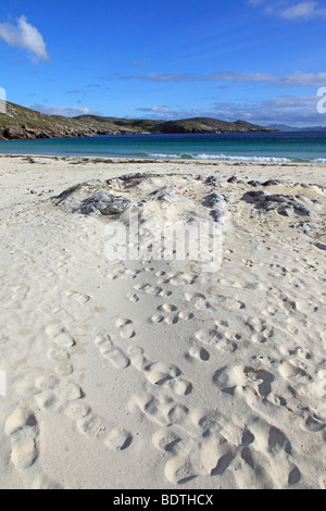 Footprints in the sand at Husinish beach, Isle of Harris, Outer Hebrides, Scotland - Stock Photo