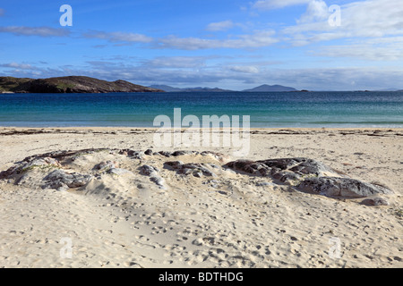 Beautiful beach at Husinish, Isle of Harris, Outer Hebrides, Scotland - Stock Photo