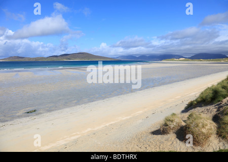 View over the beach at Seilebost, over the Sound of Taransay, Isle of Harris, Scotland - Stock Photo