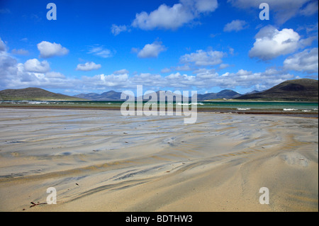 Wave patterns in the sand on the beach by Horgabost, Isle of Harris with view over the Sound of Taransay - Stock Photo