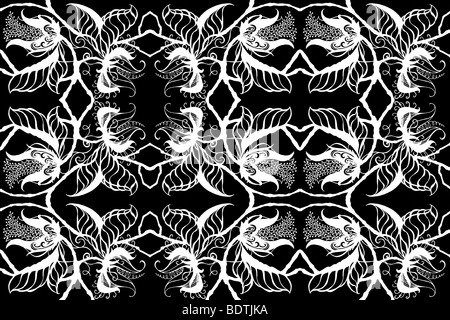 Repeated white on black drawing of exotic botanical blossoms, leaves and stems border exotic foliage botanical silhouette - Stock Photo