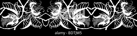 Repeated white on black drawing of exotic botanical blossoms, leaves and stems in border form - Stock Photo