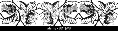 Repeated black on white drawing of exotic botanical blossoms, leaves and stems in border form - Stock Photo