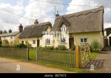 Cottages Stoke on Clare Suffolk UK - Stock Photo