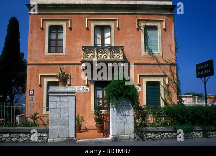 Architecture; Taormina, Messina Province, Sicily, Italy, Europe - Stock Photo