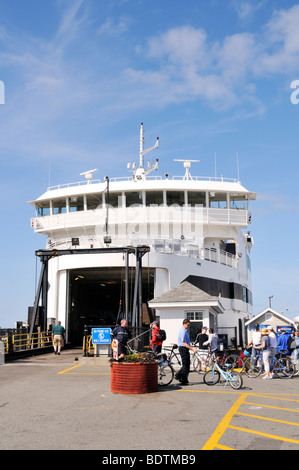 Vehicle freight doors open on the Steamship Authority ferry from Woods Hole to the island Martha's Vineyard at the - Stock Photo