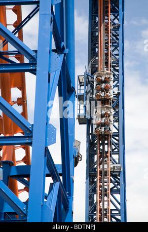 rollercoaster in amusement park, swabia, bavaria, germany - Stock Photo