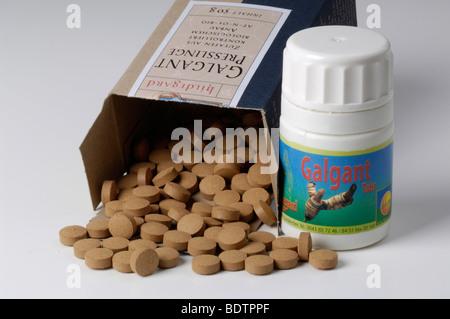 Alpinia galanga condiment pills - Stock Photo