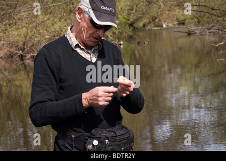 fly-fischer, fly-fisching, bait, germany - Stock Photo