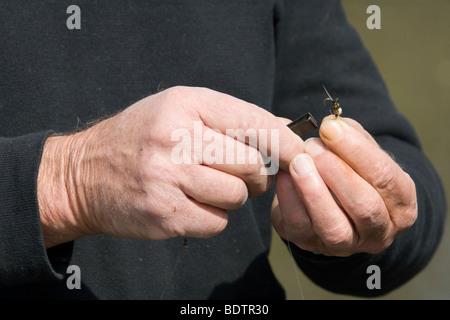 Deutschland, fly-fischer, fly-fisching, bait, germany - Stock Photo