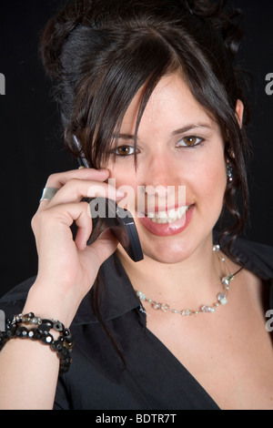 Portrait einer Frau mit Handy, woman with mobile phone Stock Photo
