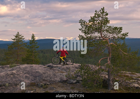 mountainbikerin blick in faell in lappland, schweden, downhill cyclist looks into the mountain lake in lapland, - Stock Photo