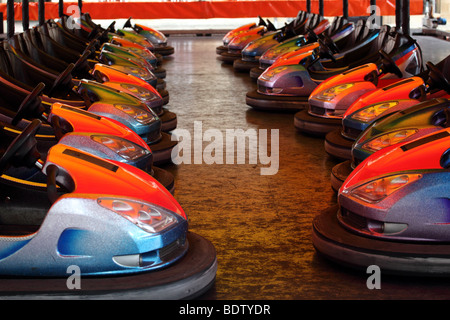 Row of bumper cars at St. Giles fair Oxford - Stock Photo