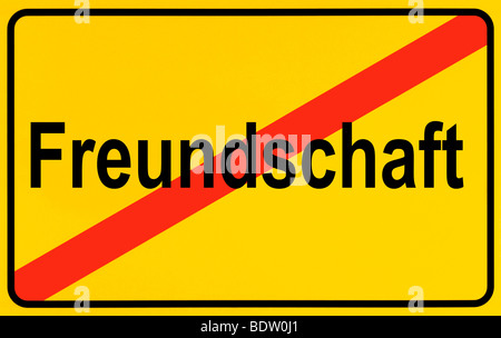 Sign city limits, symbolic image for the end of friendship - Stock Photo
