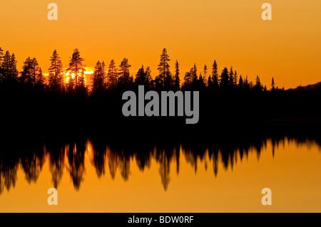 sonnenuntergang ueber einem waldsee, lappland, schweden, sunset at a forest lake, lapland, sweden - Stock Photo