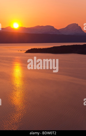 sunset at the fiord, norway - Stock Photo