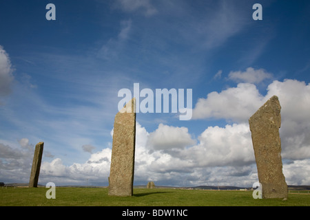standing stones of stenness, neolithic heart of orkney, mainland, orkney islands, scotland - Stock Photo