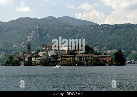 Island of San Giulio on Lake Orta, Lago d'Orta, Piedmont, Italy, Europe - Stock Photo