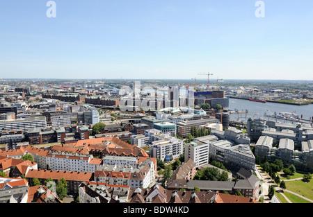 View of Hamburg from St Michaeliskirche Church, Elbe River, freeport, Speicherstadt, Elbphilharmonie, Kehrwiederspitze, - Stock Photo