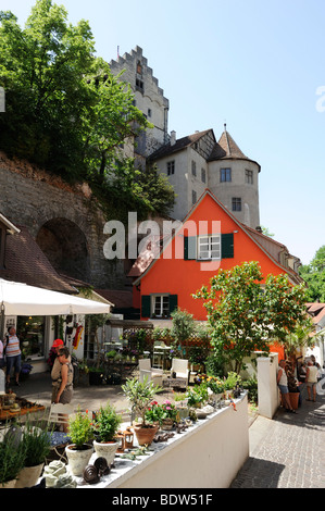 City centre and castle of Meersburg, on Lake Constance, Baden-Wurttemberg, Germany, Europe - Stock Photo
