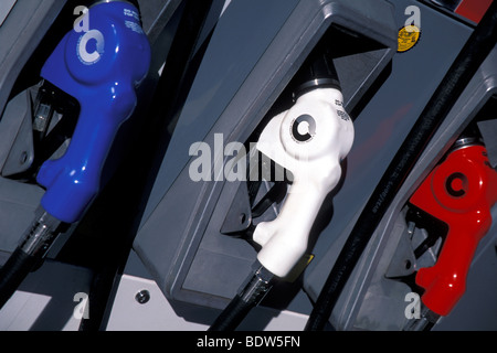 Gas Pump Nozzles, Gas Station, USA - Stock Photo