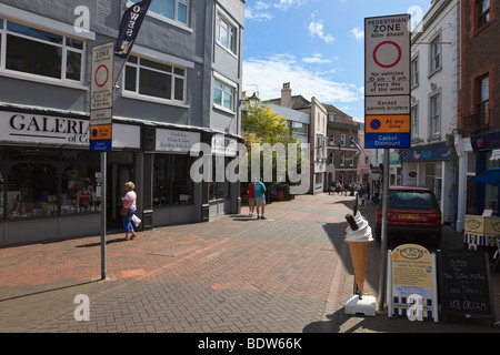 Signs for Cowes High Street Pedestrian Zone, Isle of Wight, UK - Stock Photo
